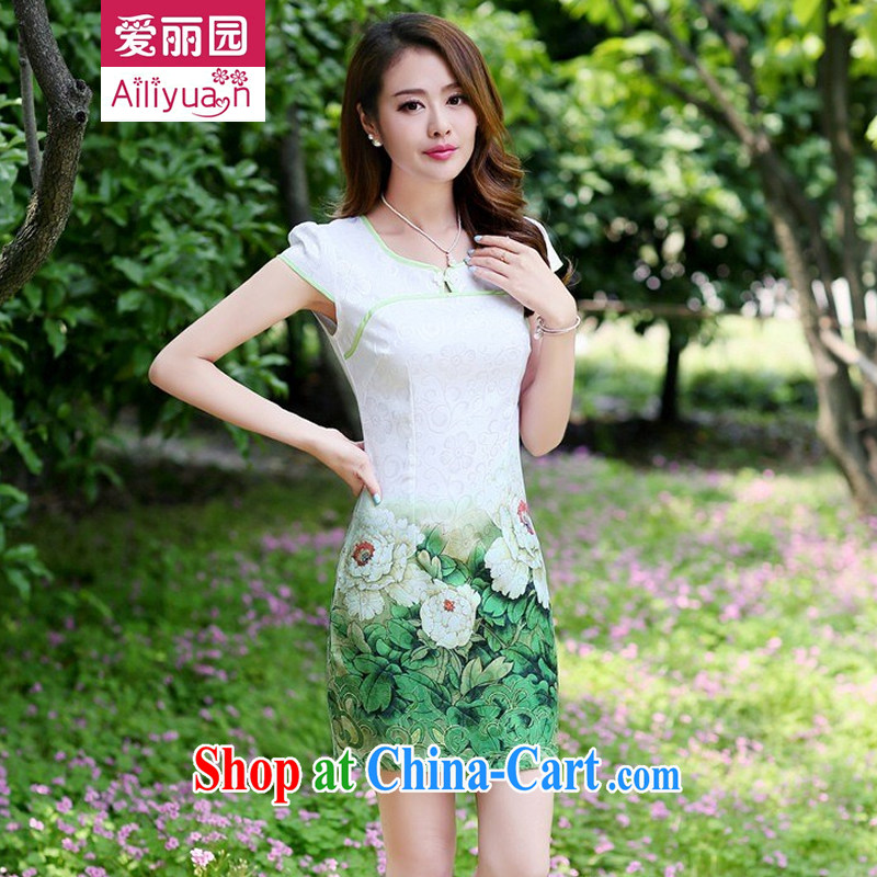 Alice Park 2015 summer new women's clothing dresses improved stylish elegant dress short, retro-day cotton cheongsam dress 81 girls pink green Peony flower M recommended 95 - 105 jack