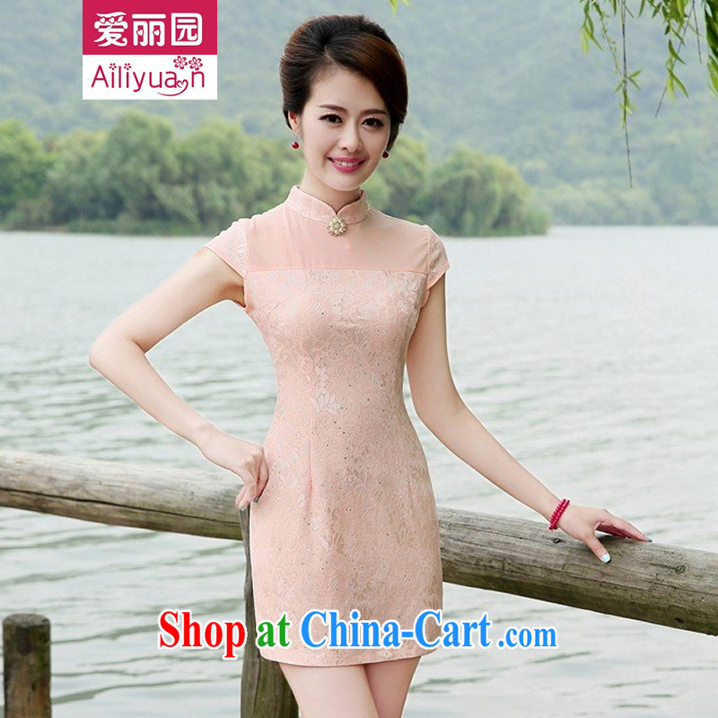 Alice Park 2015 summer new women's clothing dresses improved stylish elegant dress short, Retro daily cotton cheongsam dress 78 girls green pink XXL