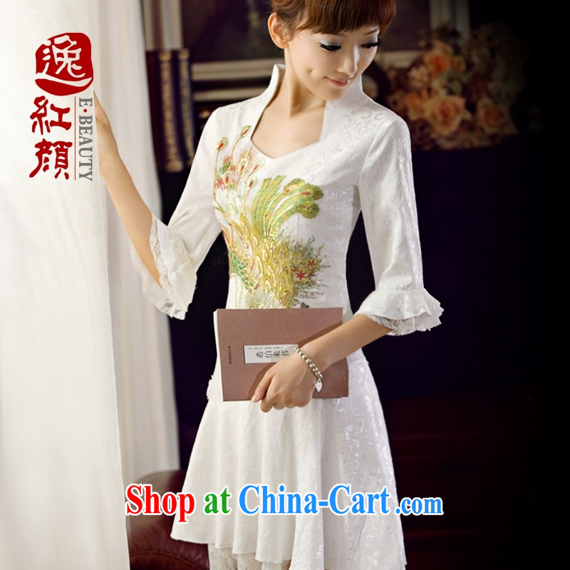 once and for all and fatally jealous Phoenix long-sleeved qipao dresses summer dresses skirts improved daily fashion beauty girls short white 2XL