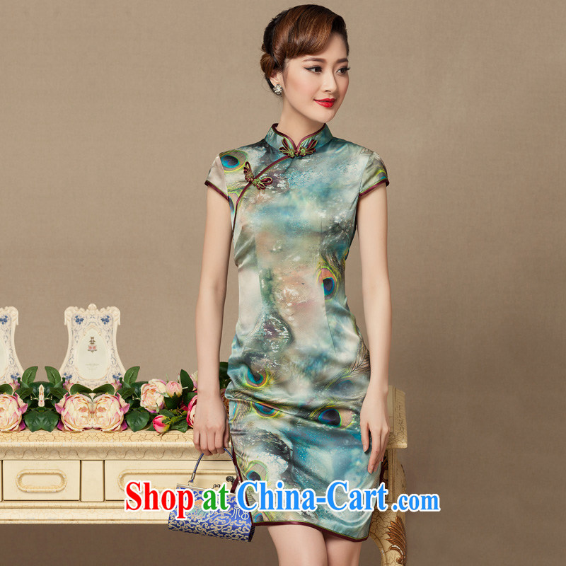 Yin Yue seal summer heavy Silk Cheongsam stamp improved retro-day Shanghai sauna Ms. Silk Cheongsam dress S