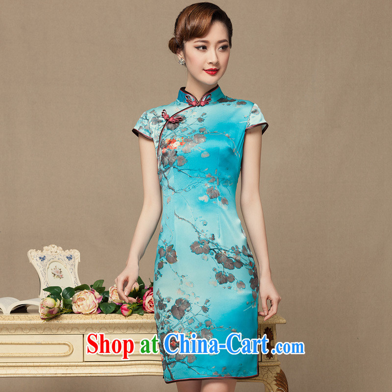 Yin Yue seal 2014 summer sauna Silk Cheongsam improved day Ms. stamp duty heavy Silk Cheongsam dress picture color XL