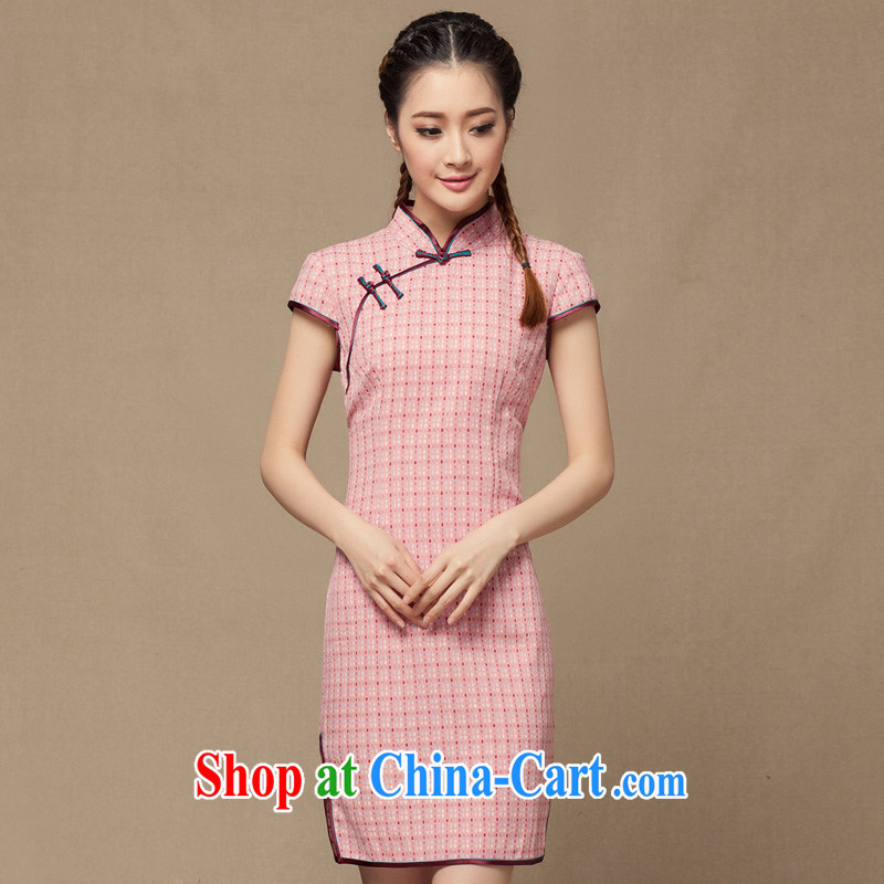 Yin Yue NARS summer 2014 new female linen cheongsam dress style cotton Ma grid Korea retro improved short pink XXL