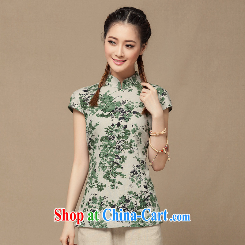 Yin Yue NARS summer 2014 new dresses T-shirt blue and white porcelain Chinese female short-sleeved T-shirt Art Nouveau Chinese green floral L