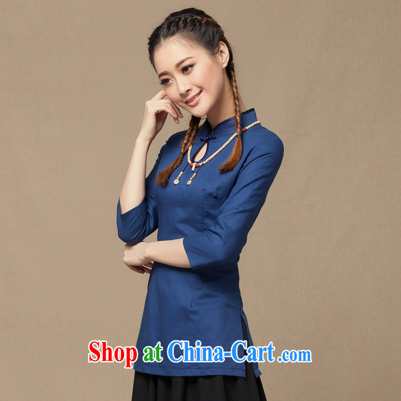 Yin Yue NARS summer 2014 new units the cheongsam, qipao sleeves T-shirt Han-Chinese girl Chinese Korea linen clothing blue S