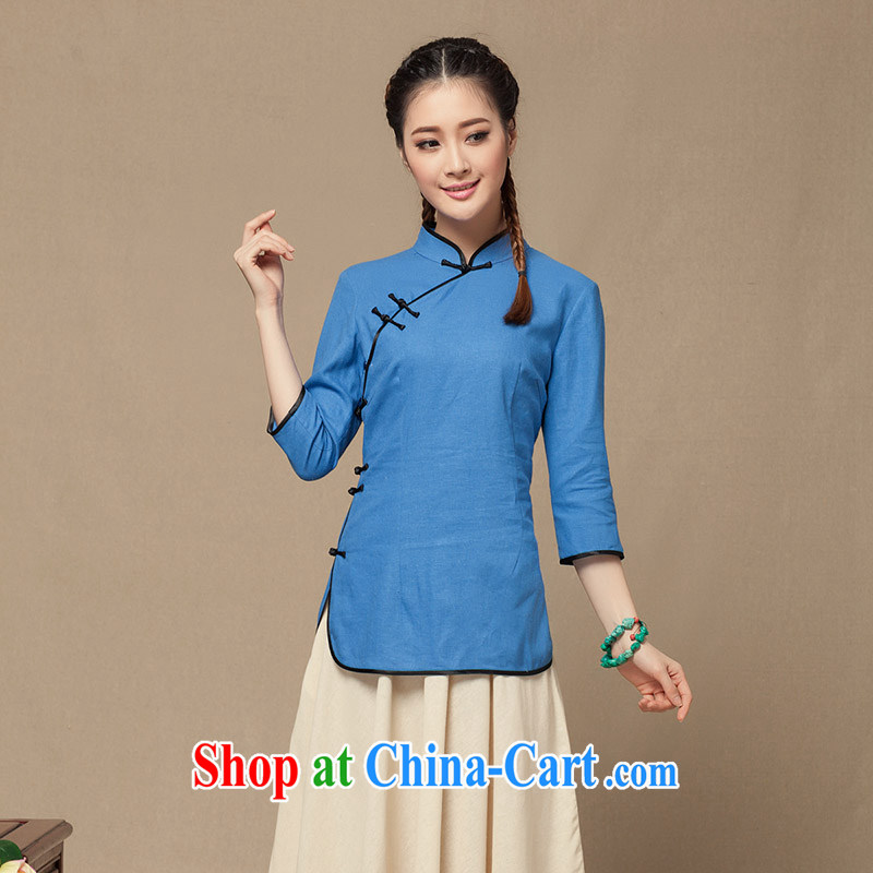 Summer 2015 new literary and artistic female Chinese Tang mounted units the commission T-shirt National wind, served 7 cuff cheongsam sky M
