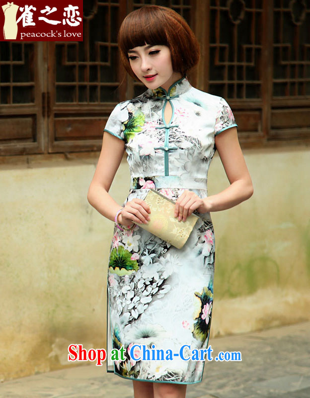 Bird lovers of wind would be grateful if you would have 2015 spring new stylish and improved daily Silk Cheongsam QD 505 fancy M