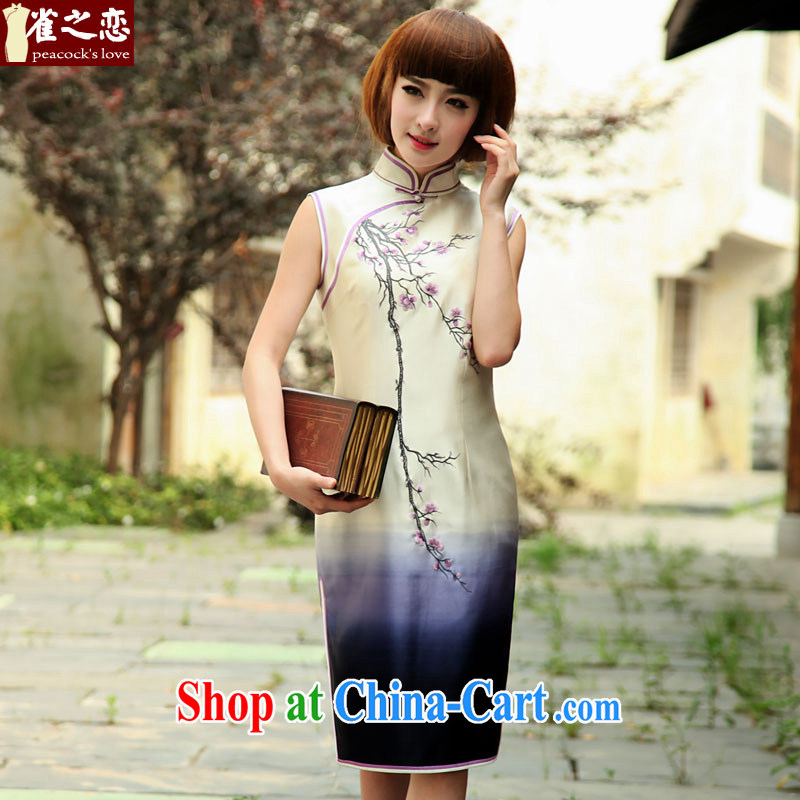 Bird lovers of the beauty of spring 2015 the new retro embroidered heavy silk sleeveless dresses female QD 506 white XXL