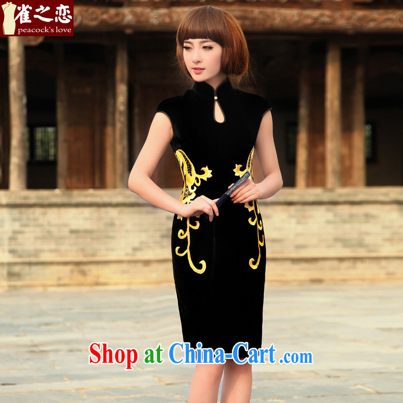 Birds love fanned rattan line 2015 spring new stylish sexy embroidered Silk Velvet cheongsam black XXXL