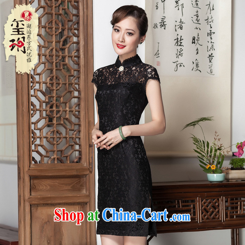 Yin Yue NARS summer 2014 new retro minimalist cheongsam dress Korea elegant and refined lace daily improved cheongsam black M