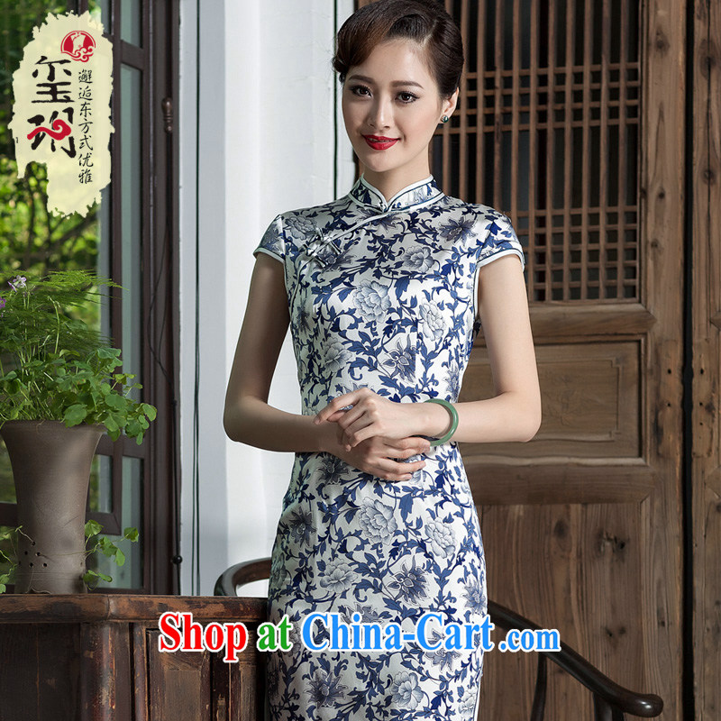 Yin Yue seal 2014 blue and white porcelain stamp girl cheongsam heavy silk improved daily short stylish cheongsam dress picture color XL