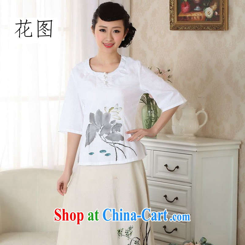 Take the new summer hand-painted dresses T-shirt cotton the linen Chinese Ethnic Wind girls T-shirt Chinese improved white XL