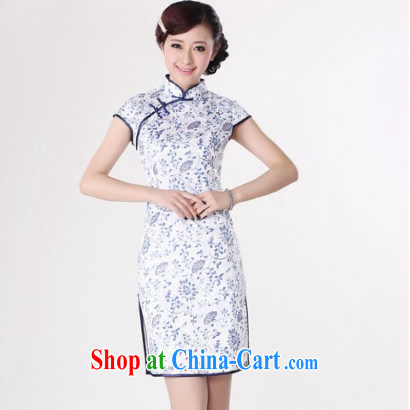 And Jing Ge dresses summer improved retro dresses up for a tight cotton hand-painted Chinese improved cheongsam dress short blue on white 2 XL