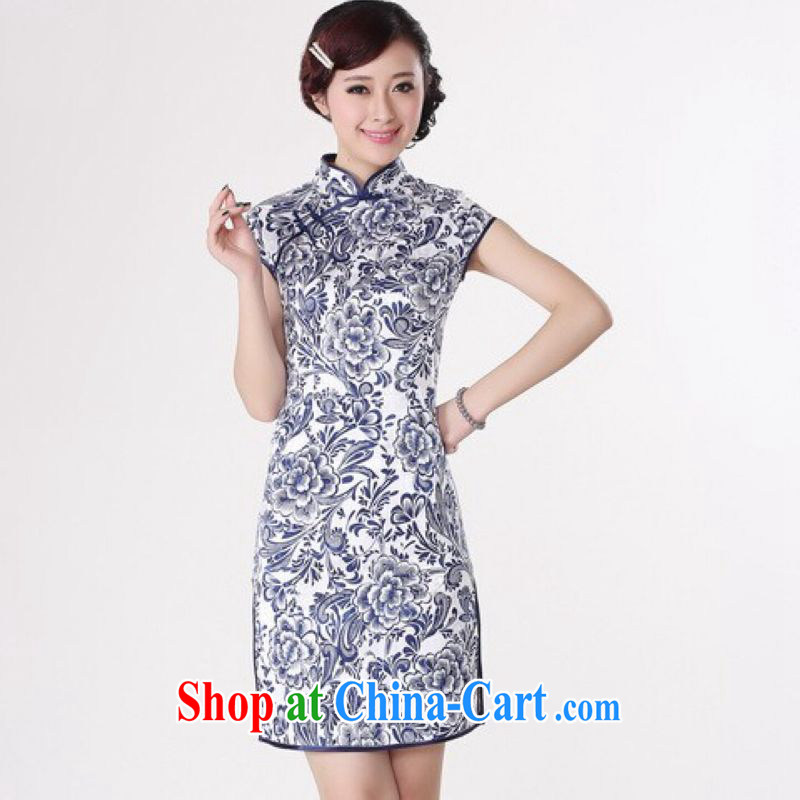 And Jing Ge dresses summer improved retro dresses, for a tight cotton stamp Chinese improved cheongsam dress short black Orchid 2 XL