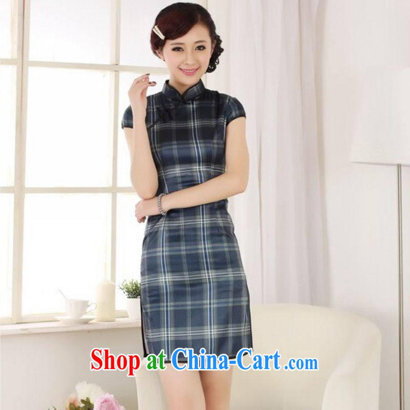 And Jing Ge dresses summer improved retro dresses up for a tight grid Chinese improved cheongsam dress short - B blue 2 XL