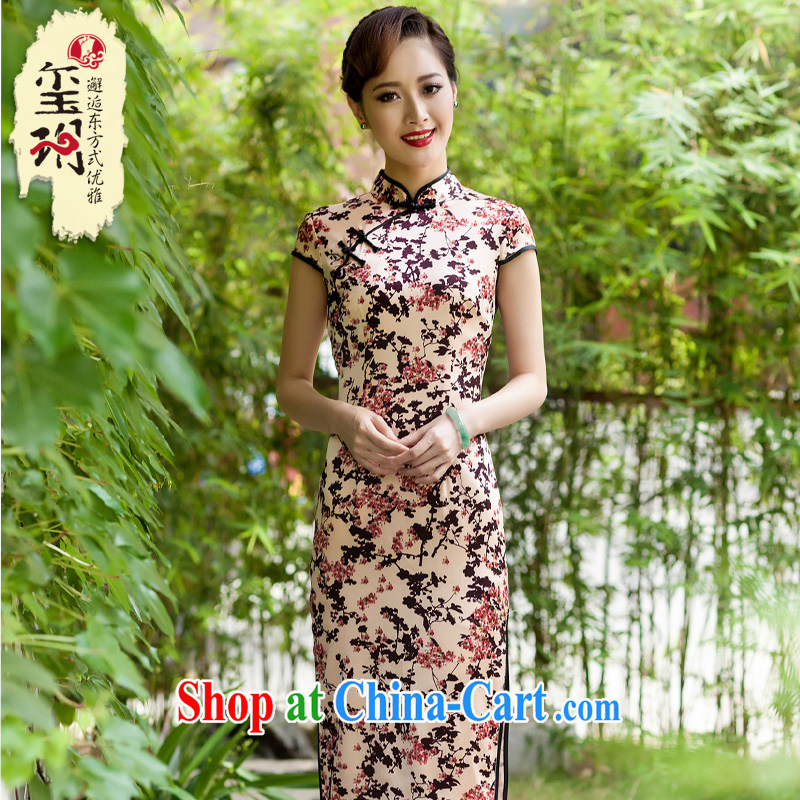 2014 New floral silk stamp long cheongsam high-end elegant banquet dress Ms. improved dress floral S