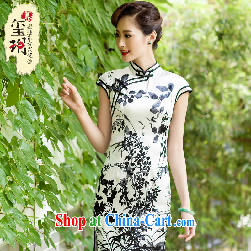 Seal water confirming the bilateral Silk Cheongsam daily retro improved Tang is designed container heavy Silk Cheongsam dress picture color XXL