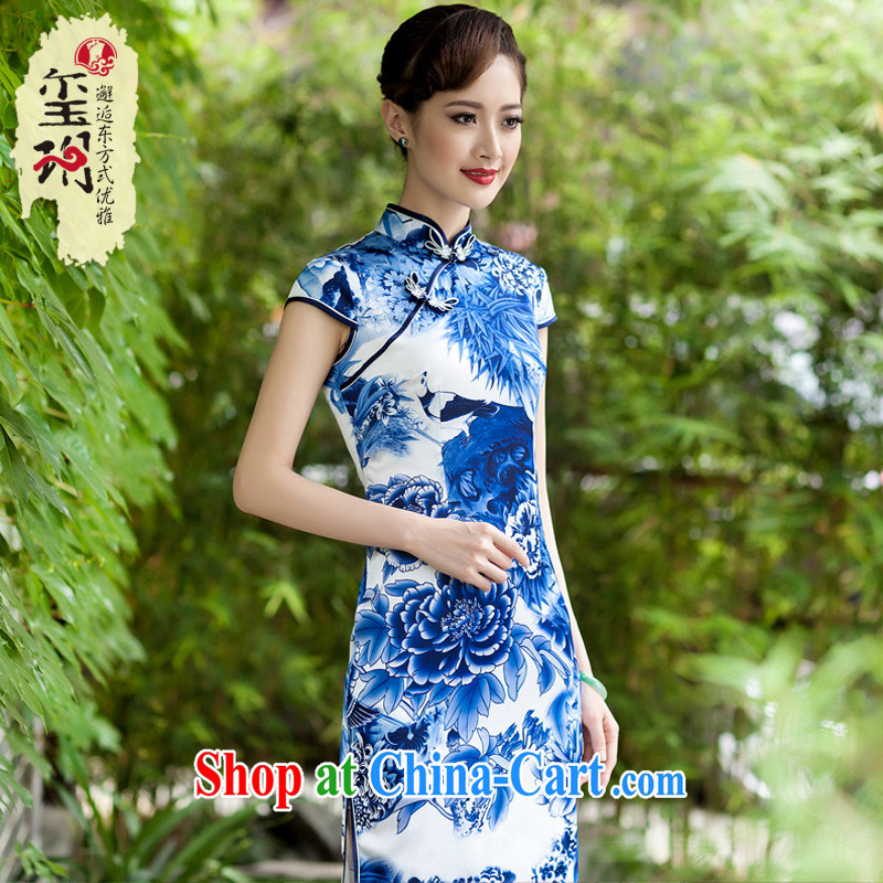 Yin Yue NARS summer 2014 new Chinese Ethnic Wind blue and white porcelain cheongsam dress daily improved stylish beauty blue and white porcelain S