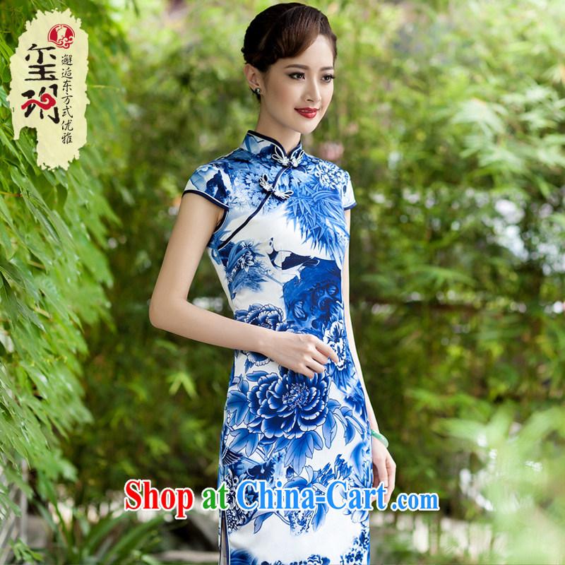 Yin Yue NARS summer 2014 new Chinese Ethnic Wind blue and white porcelain cheongsam dress daily improved stylish beauty blue and white porcelain S