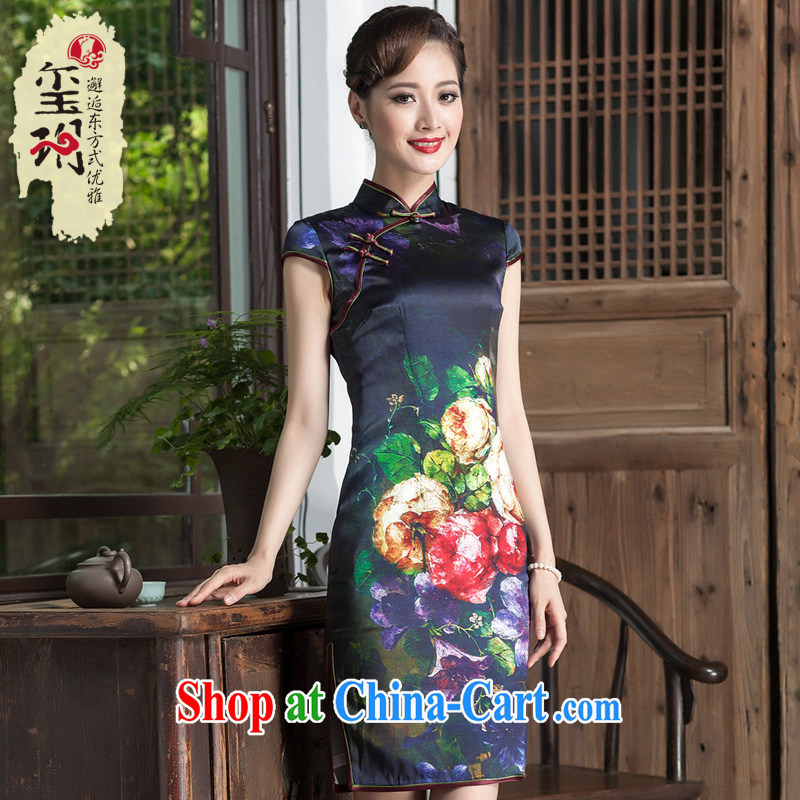 Yin Yue NARS summer 2014 Chinese improved cheongsam heavy silk daily retro upscale female banquet cheongsam dress picture color S