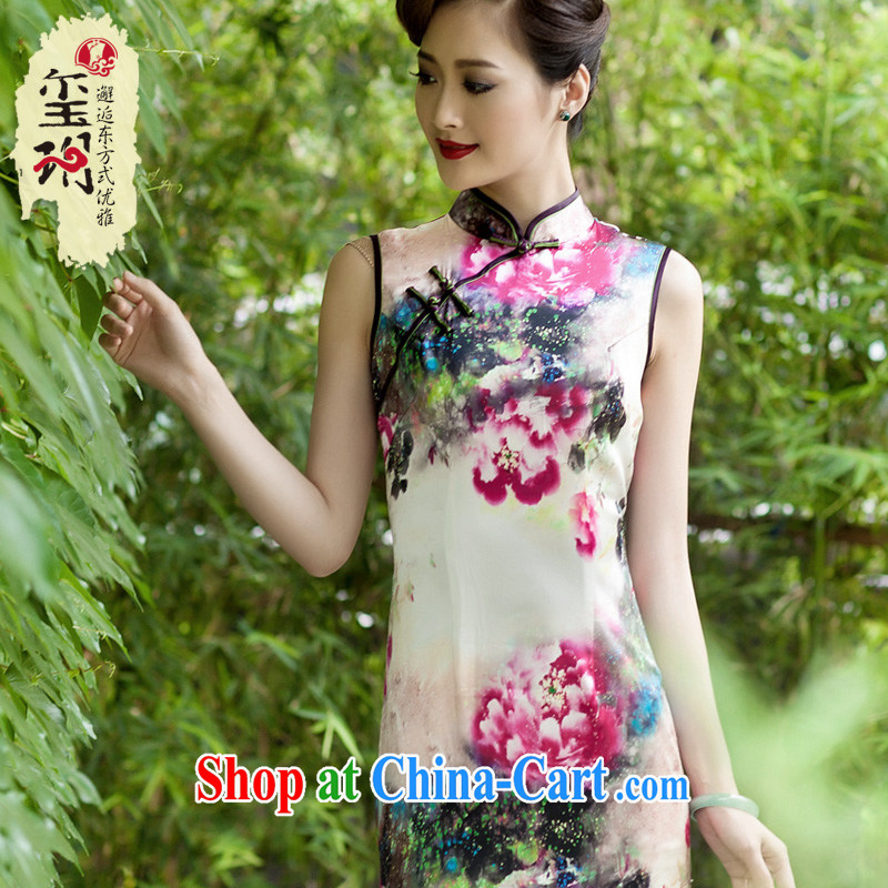 Summer 2014 new heavy silk, long cheongsam banquet stamp duty high-end female cheongsam dress evening gown picture color XXL