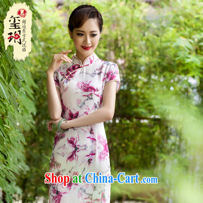 2014 summer silk, long dresses, heavy silk elegant dinner high on the truck girl cheongsam improved retro picture color M