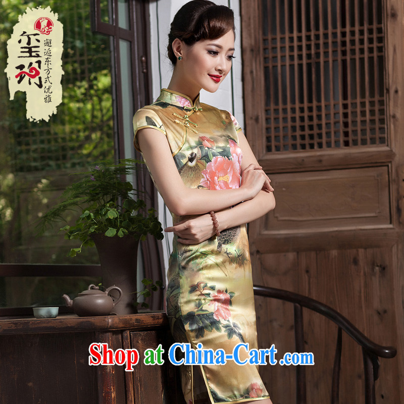 Royal Seal Yin Yue 2014 Chinese traditional Silk stamp beauty dresses the stylish and high class sauna Silk Cheongsam dress picture color S