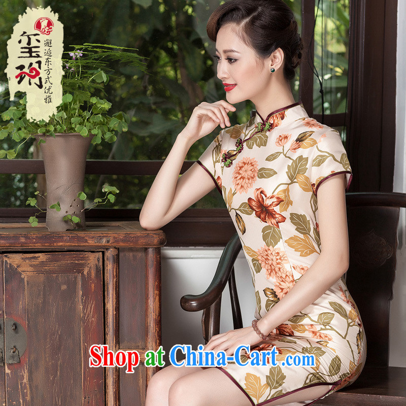Yin Yue NARS summer 2014 new elegant stamp cheongsam floral Korea improved day-dresses, skirts picture color M