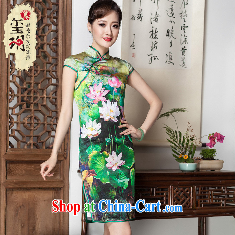 Royal Seal Yin Yue Lotus Pond upscale silk stamp duty, qipao dress retro improved short banquet sauna silk picture color XL