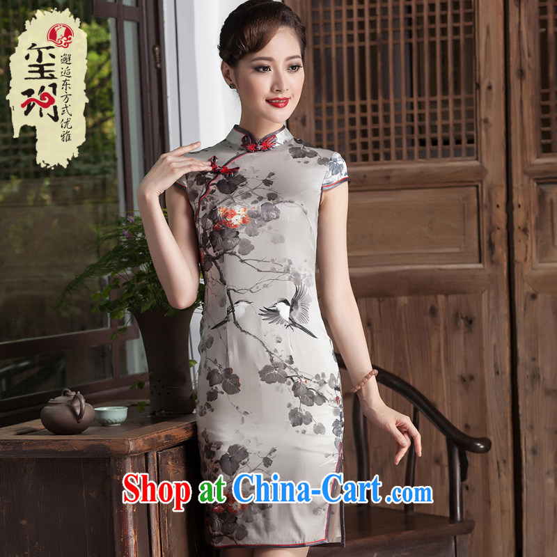 Yin Yue seal 2014 water and ink stamp duty heavy Silk Cheongsam elegant beauty dresses skirts improved daily short picture color XXL