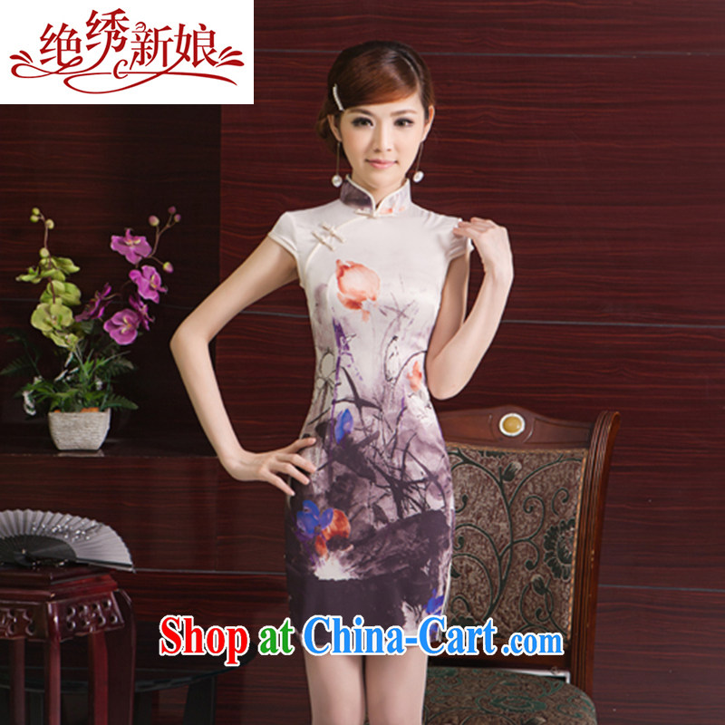 There is embroidery bridal 2014 new summer fashion improved stamp cheongsam dress daily short cultivating Chinese ice Silk Dresses QP - 397 short XXL Suzhou shipping