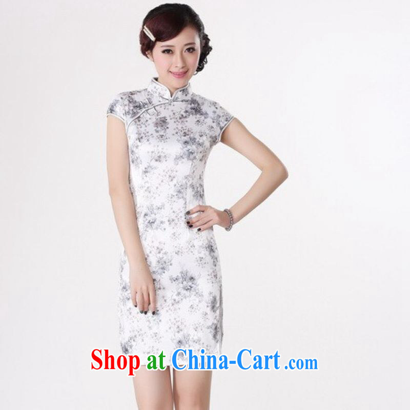And Jing Ge cheongsam dress summer improved retro dresses, for a tight cotton stamp Chinese improved cheongsam dress short - A White 2XL