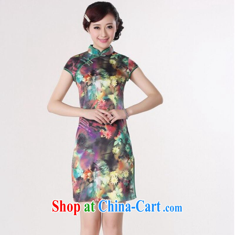 And Jing Ge cheongsam dress summer improved retro dresses, for a tight silk stamp Chinese improved cheongsam dress short - A green 2 XL