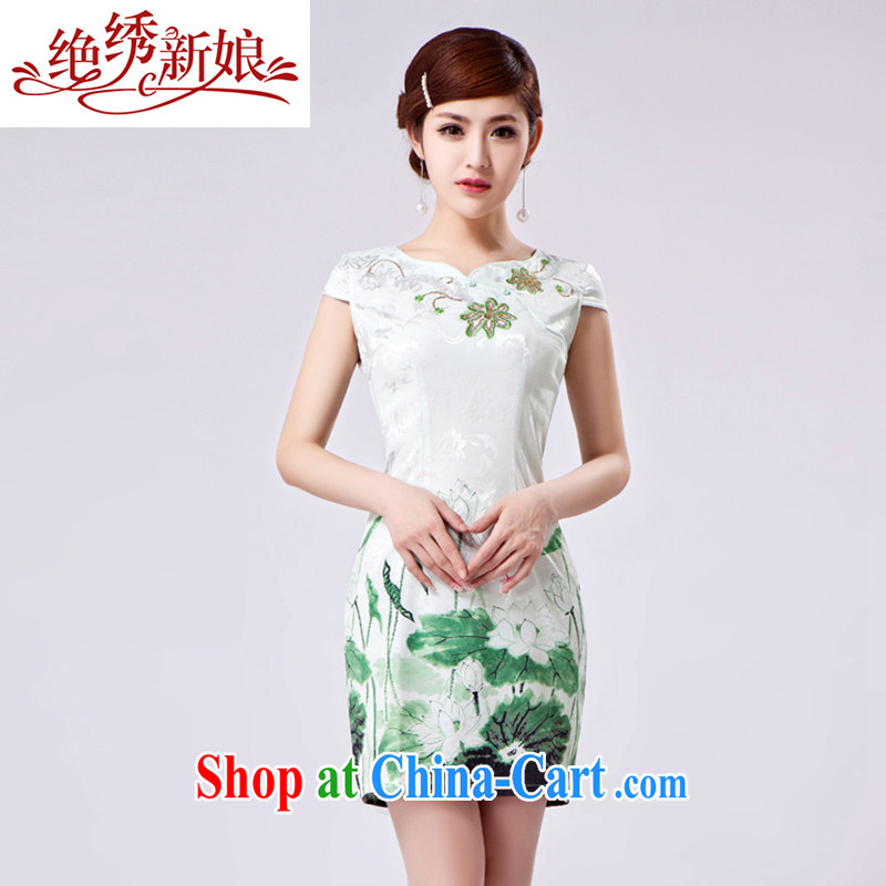 There is embroidery bridal 2014 new summer fashion Daily Beauty antique porcelain was improved dress Tang Dynasty Women cheongsam dress QP 398 short XXL Suzhou shipping