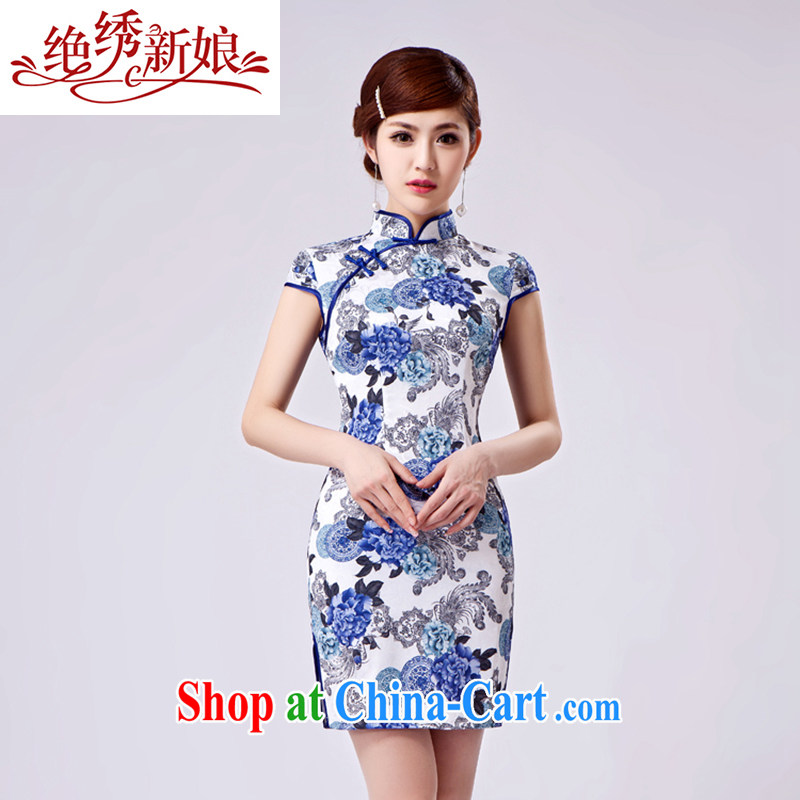 There is embroidery bridal 2014 summer New Beauty stamp elegant Chinese style cheongsam dress dresses female QP - 399 short XXL Suzhou shipping