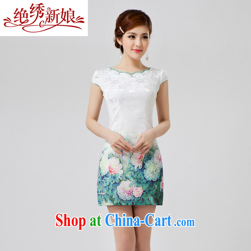 There is embroidery bridal 2014 new cheongsam dress girls summer blue and white porcelain long girls lace embroidery QP - 401 XXL Suzhou shipping