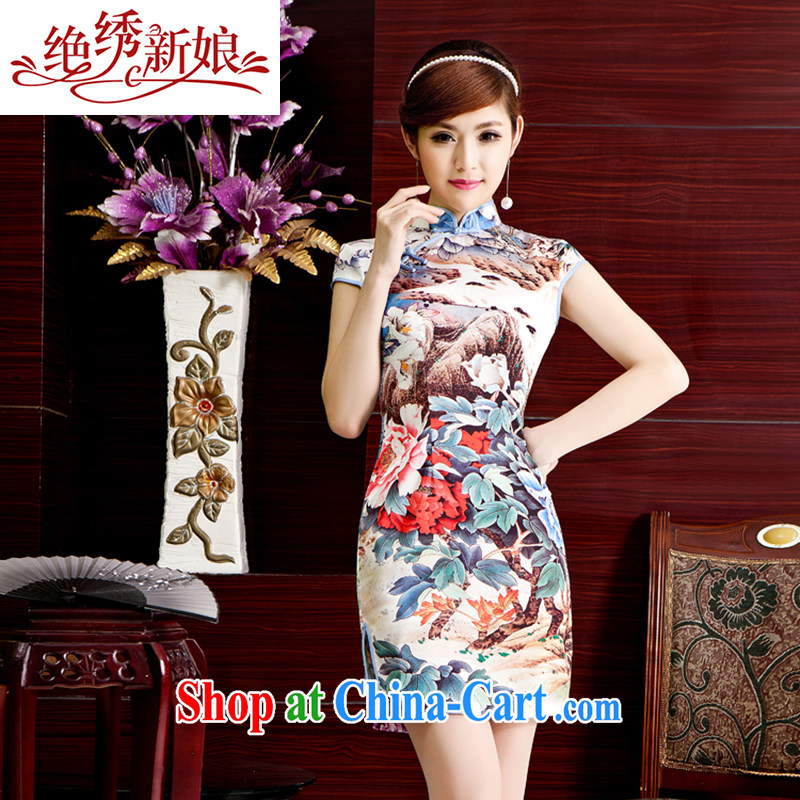 There is a bride's 2014 spring and summer new, Retro beauty cheongsam dress summer stylish improved cheongsam Ms. short-sleeved dresses QP 402 short XL Suzhou shipping