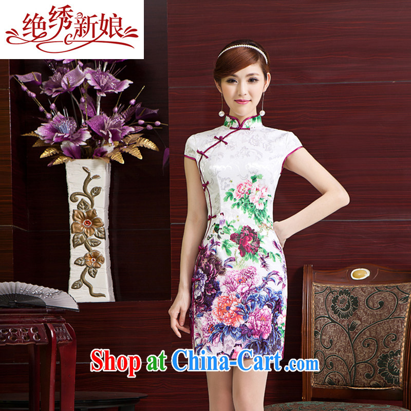 There is embroidery bridal 2014 summer new stylish improved retro short cheongsam dress Chinese daily outfit QP - 403 short XXL Suzhou shipping