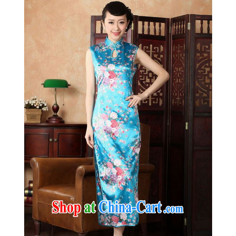 And Jing Ge dresses summer improved retro dresses cotton, stamp duty for Chinese improved cheongsam dress long J 5110 Lake blue 2 XL