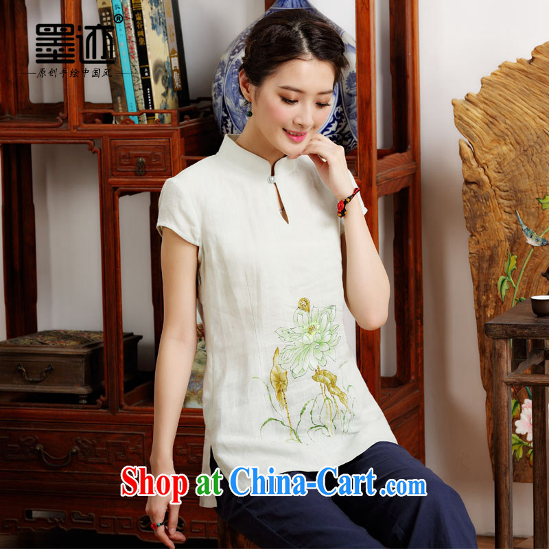 Ink cotton summer the commission new cotton Ma girl, served ethnic Wind China wind hand-painted Lotus short-sleeve female T pension white XL