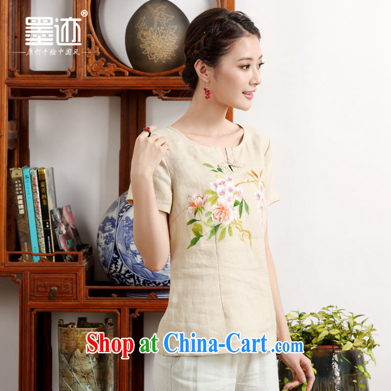 Ink 2015 new summer hand-painted linen original Chinese style Chinese Chinese electoral meticulous flower -- m yellow M