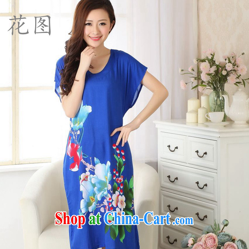 Take the container to the payment female new summer load Tang stamp duty cotton robes Tang replace pajamas bathrobe - A PO blue are code