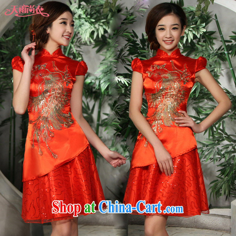 Rain is still clothing and stylish bride toast wedding dresses Chinese refined and elegant short cheongsam, qipao for QP 522 red M