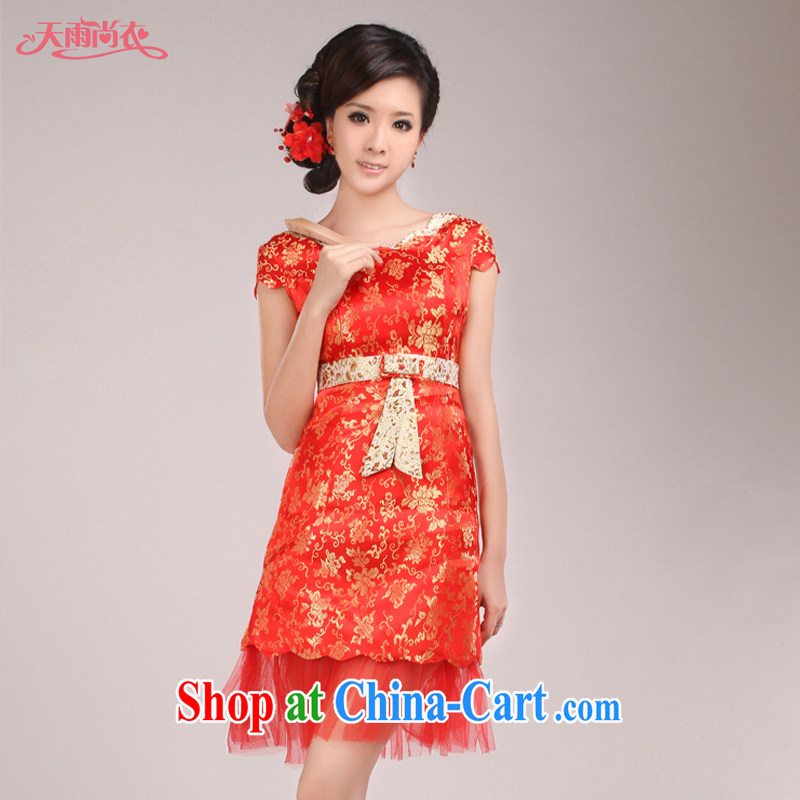 Rain Coat yet stylish marriages served toast Chinese improved cheongsam summer marriage short dresses qipao QP 515 red XL