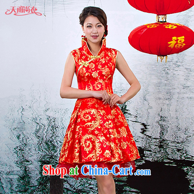Rain is still clothing and fashion bridal wedding dresses improved antique Chinese wind short dresses Chinese bows cheongsam QP 517 red XS