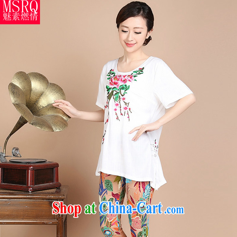 Quality of fuel and 2014 summer New Computer Embroidery short-sleeved cotton middle-aged and older Chinese female white XXXXL