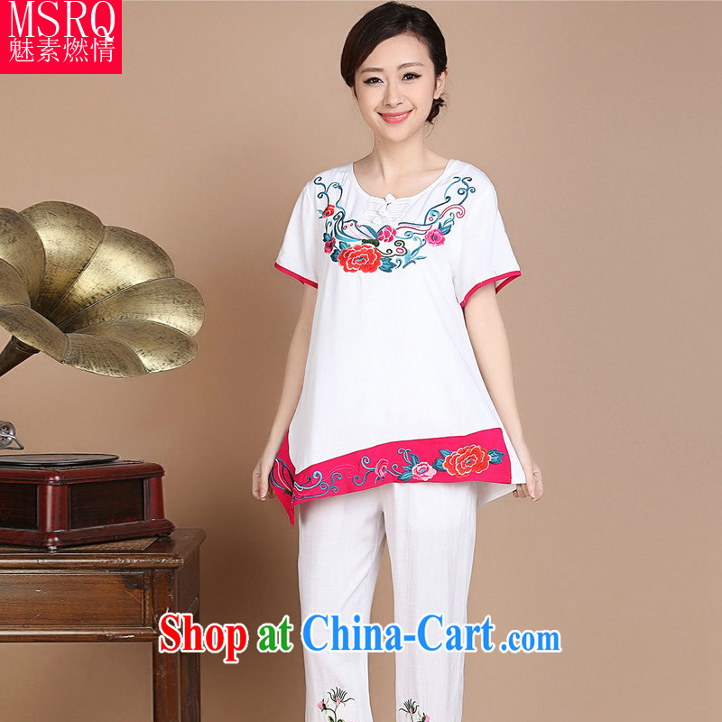 Quality of fuel and 2015 summer new embroidery floral fitted short-sleeved, older Chinese women new white XXXL