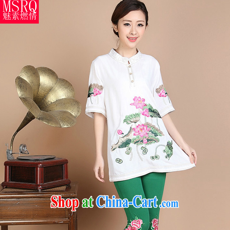 Quality of fuel and 2014 summer new Lotus embroidery, older 100 to ground and leisure Tang is a leading female white XXL