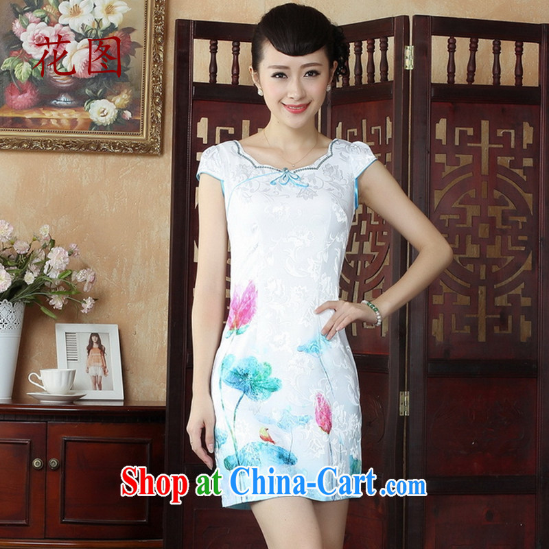 Take the cheongsam dress summer antique Chinese Chinese qipao dress summer improved graphics thin daily fashion dresses dress 5 white L