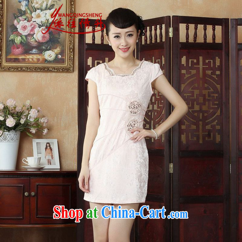 In accordance with the situation in summer 2015 Ethnic Wind Solid Color lace collar lace stamp duty cultivating cheongsam dress LGD/D 0245 #picture color 2 XL