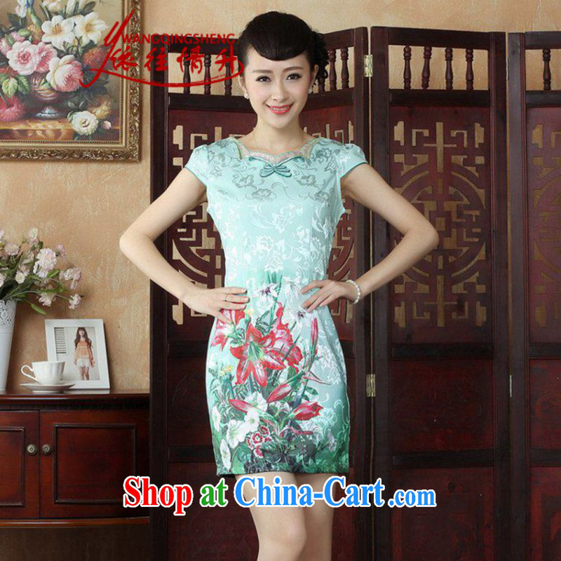 In accordance with the situation in summer 2015 National wind antique stamp stitching lace collar cultivating cheongsam dress LGD/D 0243 #picture color M